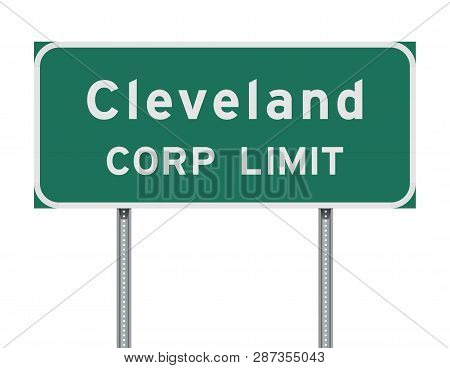 Vector Illustration Of The Cleveland Corp Limit Green Road Sign