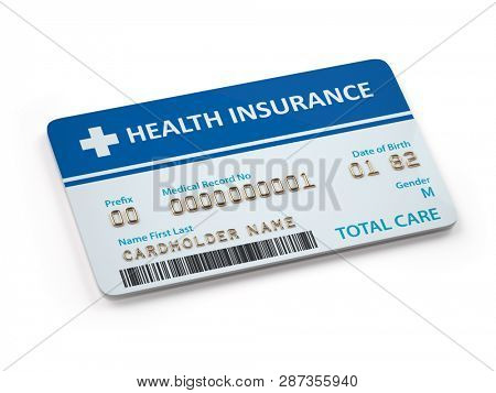Health Insurance cards total and dental care  Isolated on white background. 3d illustration