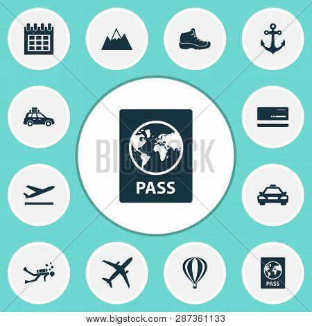Journey Icons Set With Air Balloon, Passport, Taxi And Other Car Elements. Isolated  Illustration Jo
