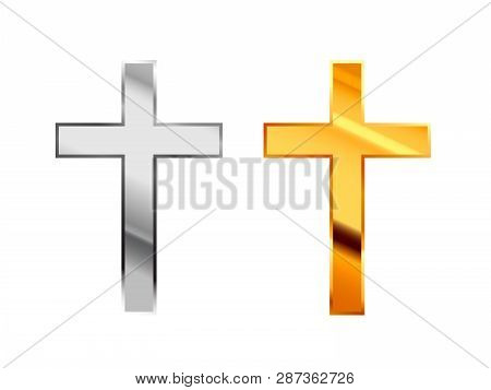 Catholicism Religious Signs Made From Glossy Silver And Gold Metall On White