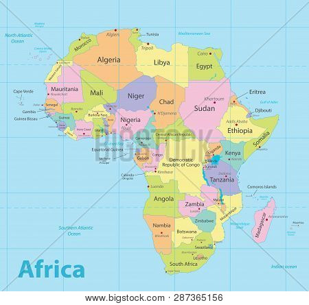 Africa Map Colorful, New Political Detailed Map, Separate Individual States, With State City And Sea