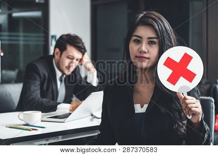 Female Human Resource Manager Decline The Employment Candidate Who Failed Interviewing, Sitting In O