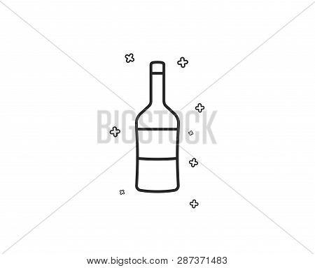 Wine Bottle Line Icon. Merlot Or Cabernet Sauvignon Sign. Geometric Shapes. Random Cross Elements. L
