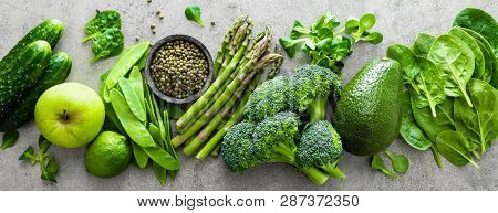 Healthy Vegetarian Food Concept Background, Fresh Green Food Selection For Detox Diet, Raw Broccoli,