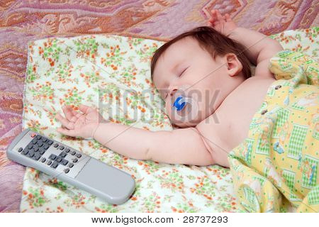 Infant About Two Month Sleeping On Diaper