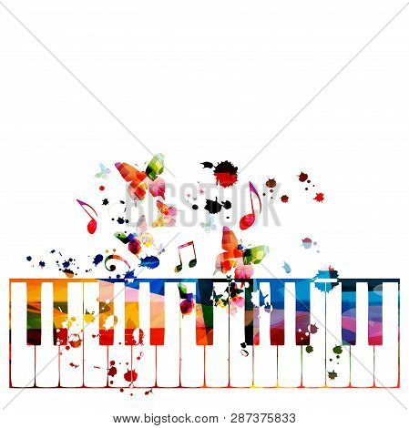 Colorful Piano Keys With Music Notes Isolated Vector Illustration Design. Music Background. Piano Ke