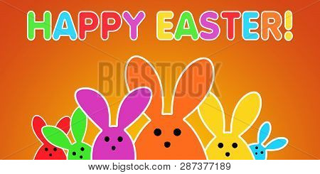 Colorful easter bunny as illustration on orange background. Easter Rabbits background for the colorful Easter season.