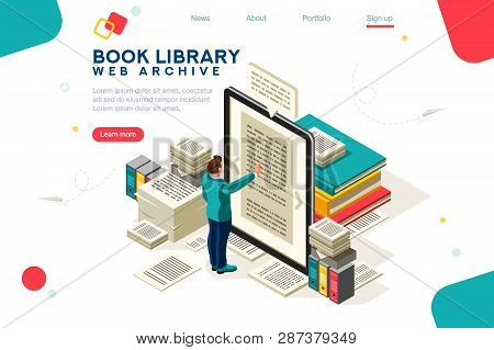 Media Book Library Concept. E-book, Reading An Ebook To Study On E-library At School. E-learning Onl