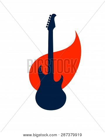 Electric Guitar On Fire, Hot Rock Music Guitar In Flames, Hard Rock Or Rock And Roll Concert Or Fest