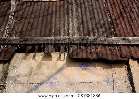 Old Warehouse In Disrepair, Detail Of The Broken Roof