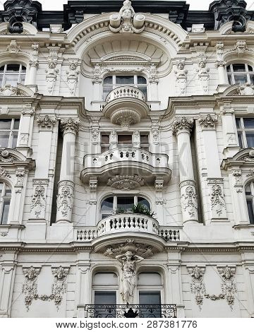 Beautiful Decorated Baroque Facade Of Vienna House On Linke Wienzeile Street.