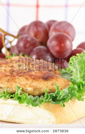 Bread Chicken And Grapes Meal