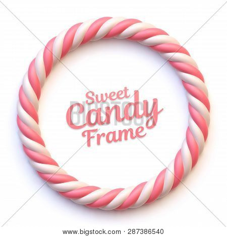 Pink And White Marshmallow Candy Circle Frame