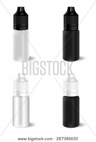 E Juice Liquid Dropper Bottle. Vector Vial For Essence. Plastic Vapour Flacon Packaging Mockup. Real
