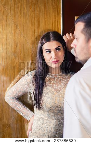 Woman Looks At A Man Incredulously. Concept Of Relationship, Feeling