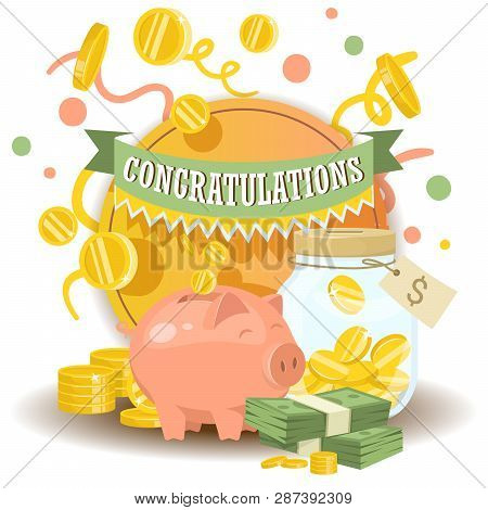 Money Vector Piggy Bank Pig Box Financial Bank Or Money-box With Investment Savings And Coins Backdr