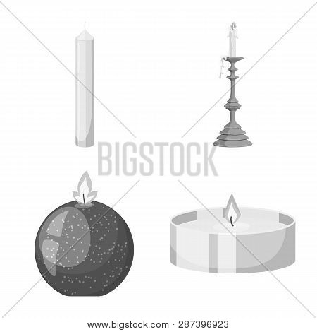 Isolated Object Of Paraffin And Fire  Sign. Set Of Paraffin And Decoration    Vector Icon For Stock.