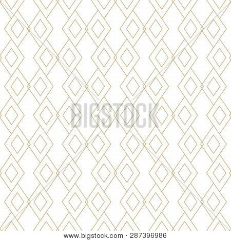 Vector Golden Linear Texture. Geometric Seamless Pattern With Diamond Shapes, Rhombuses, Thin Lines.