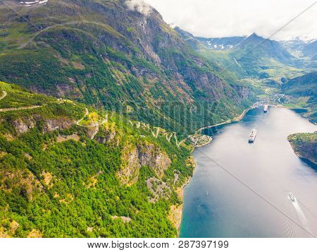 Fjord Geirangerfjord With Ferry Boat, View From Ornesvingen Viewing Point, Norway. Travel Destinatio