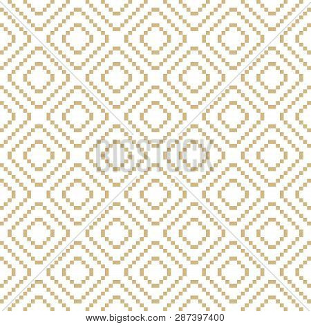 Vector Golden Geometric Traditional Ethnic Ornament. Fair Isle Seamless Pattern. Folk Motif. Simple