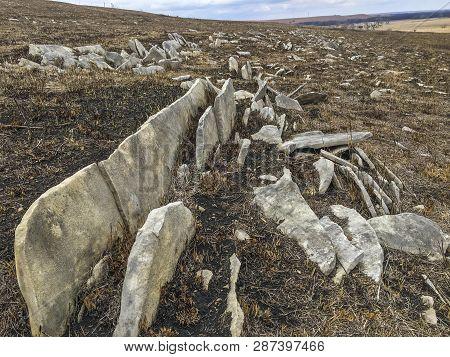 Exposed Limestone Slabs On Hillside, Flint Hills Of Kansas