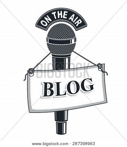 3d Microphone Vector Illustration Isolated On White With Blog Tag. News And Facts Reporting , On The