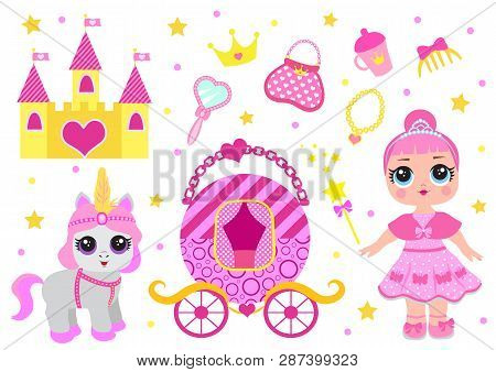 Set Of Cute Little Princess, Castle, Pony, Crown Carriage And Accessories. Fairy Tale Baby Girl Prin