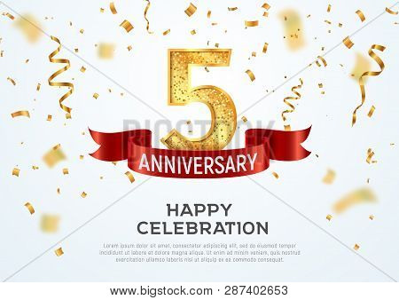 5 Years Anniversary Vector Banner Template. Five Year Jubilee With Red Ribbon And Confetti On White