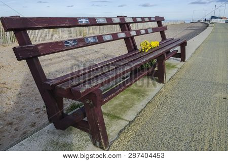 Rhyl, Uk - Jan 29, 2019: The Roll Of Honour Bench At Rhyl Harbour Commemorates Local Seamen.