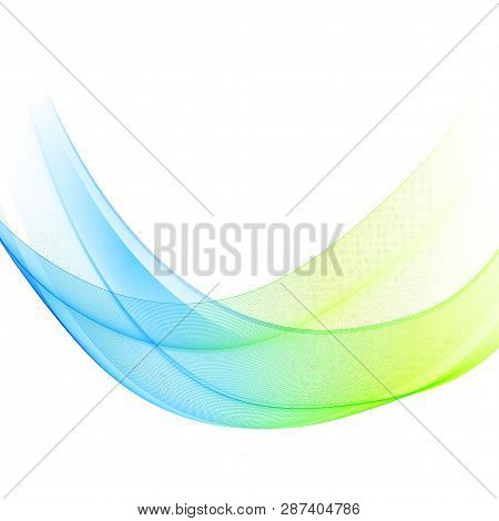 Abstract Vector Background, Blue And Green Waved Lines For Brochure, Website, Flyer Design. Transpar
