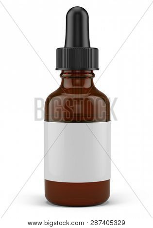 Small Dropper Bottle with a pipette and blank white label - 3d rendering mock-up template.