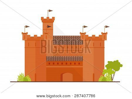 Medieval Fortress, Citadel Or Stronghold With Bulwark, Towers And Bastions Isolated On White Backgro
