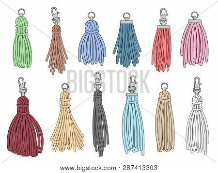 Tassels Accessories. Leather Fringe Tassel Trinket, Handbag Embelishments And Fashion Key Chain Isol