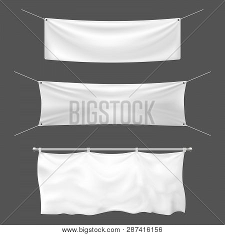Textile Banner Mockup. Empty Sign Banner, Hanging Blank White Banners And Announcement Canvas Signs