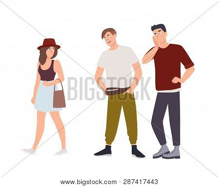 Group Of Men Whistling And Staring At Young Woman On Street. Sexual Harassment, Assault And Abuse In