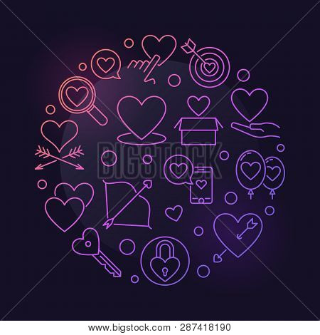 Unconditional Love Vector Round Colored Outline Illustration On Dark Background