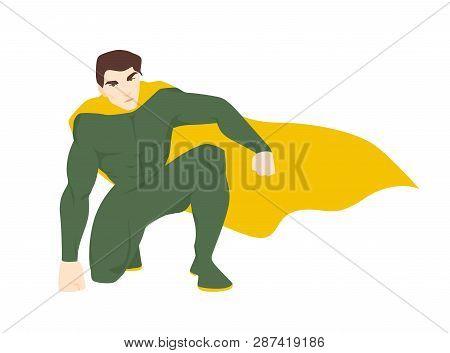Superhero, Superhuman Or Superman. Attractive Man With Muscular Body Wearing Bodysuit And Cape. Brav