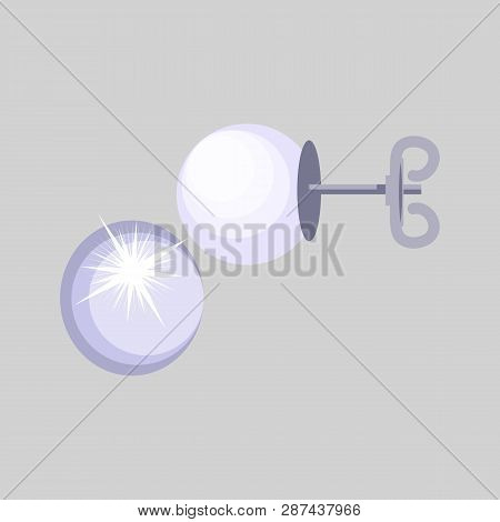 Pearl Earrings. Stud, White, Glittering. Jewelry Concept. Vector Illustration Can Be Used For Topics