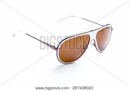 Close-up Of Sunglasses Isolated Over White Background