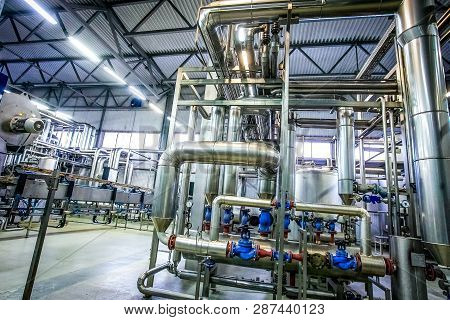Distillation Process With Many Pipelines At The New Bright Factory