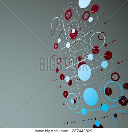 Modular Bauhaus 3d vector red background, created from simple geometric figures like circles and lines. Best for use as advertising poster or banner design. poster
