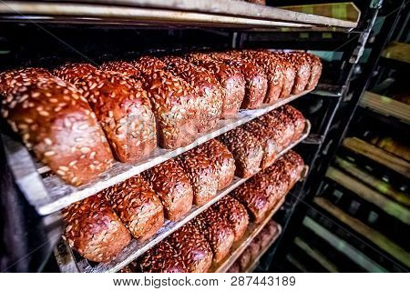 Bread On The Shelf At Bread Factory