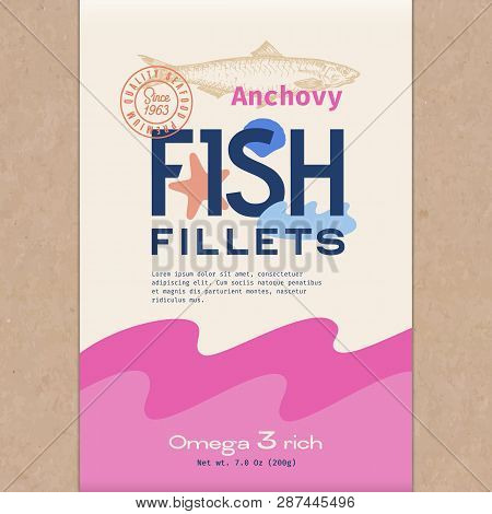 Fish Fillets. Abstract Vector Fish Packaging Design Or Label. Modern Typography, Hand Drawn Anchovy