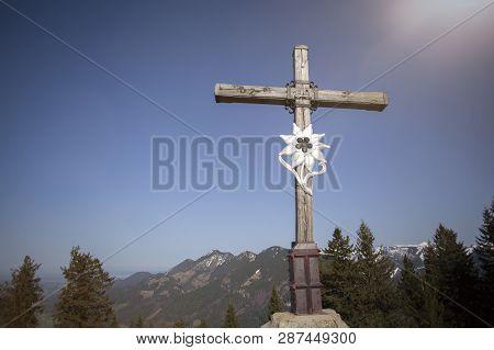 Summit Cross Of Mountain Heuberg, Bavaria, Springtime