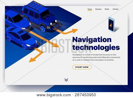 Website Providing The Service Of Navigation Technologies. Concept Of A Landing Page For Navigation T