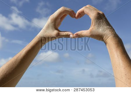 Female Hands In Front Of Blue Sunny Sky, Vacation Background