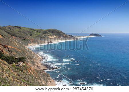 California Landscape - Pacific Coast At Big Sur Region. California Pacific Coast.