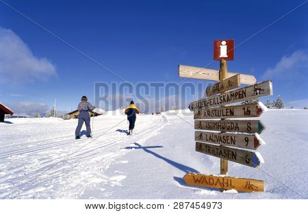 Gala, Norway- February 07,2017: Norway Two Langlaufers Tracking Through The Snowfields, Near A Signp