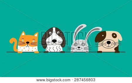 Funny Dogs, Cute Cat And Rabbit Are Best Friends. Vector Illustration.