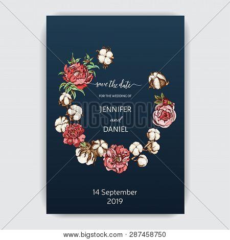 Flowers Invitation. Hand Drawn Sketch Wedding Illustration Cotton And Peony Flowers. Vector Card Sav